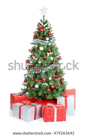 Christmas tree gifts present decoration isolated on a white background