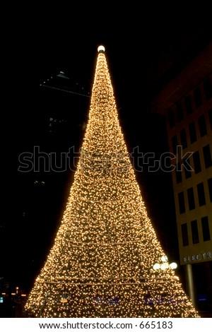 Christmas tree illuminated, Montréal Quebec, Canada - stock photo