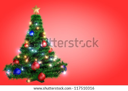 Christmas tree in a full length on a red background