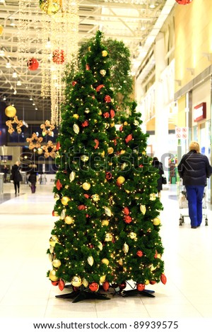 Christmas tree in a mall - stock photo