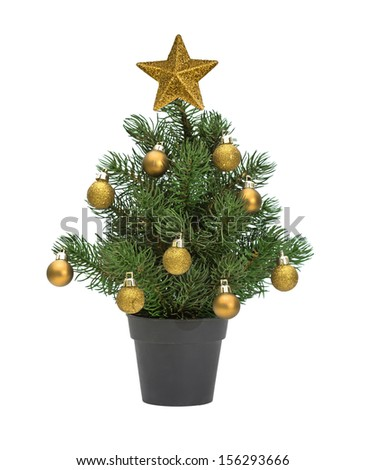 christmas tree in a pot isolated on white, decorated with gold spheres and star - stock photo