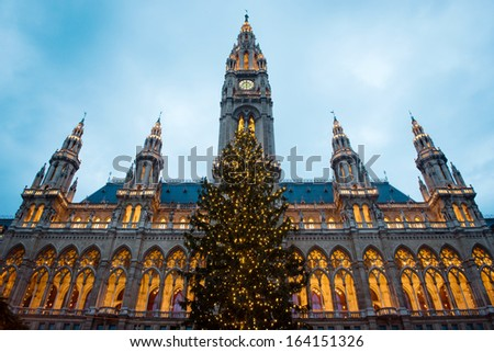Christmas tree in front of Town Hall (Rathaus) of Vienna, Austria - stock photo