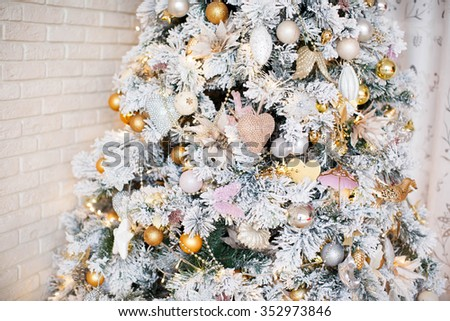 Christmas tree in living room. - stock photo