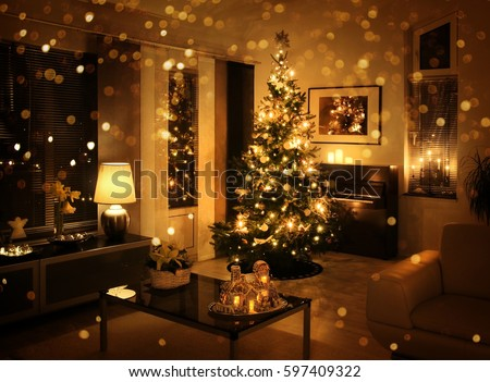 Christmas Tree In Modern Living Room Golden Glitter Bokeh Effect Part 67