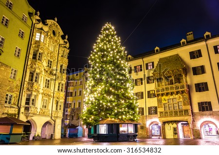 Christmas tree in the city centre of Innsbruck - Austria - stock photo
