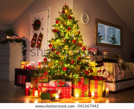Christmas tree in the home interior - stock photo