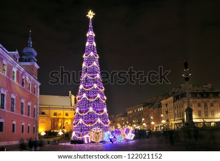 Christmas tree in Warsaw, Poland - stock photo