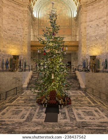 Christmas tree in Washington State Capitol. December, 17 2014 - Olympia, WA, USA. The main Christmas tree of the state was put up in Washington State Capitol.