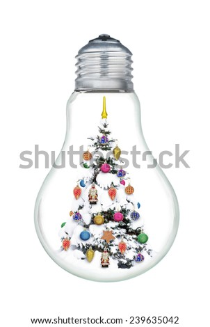 Christmas tree inside a bulb isolated on a white background. - stock photo