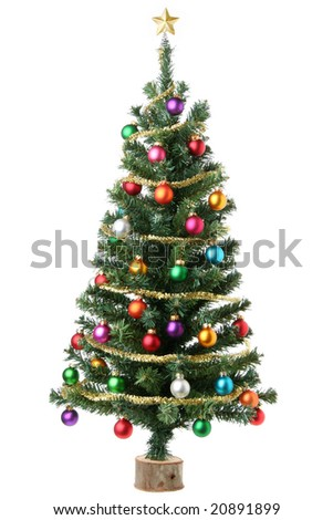 Christmas tree isolated on white - stock photo