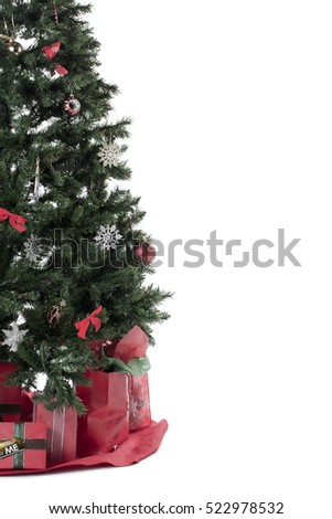 Christmas tree isolated on white with copy space