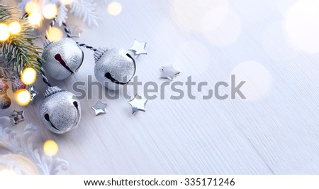 Christmas tree light; Winter Background With Frost Fir Branch  - stock photo