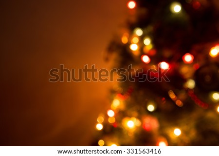 Christmas Tree Lights and Decoration Bokeh Blurred Out of Focus Background - stock photo