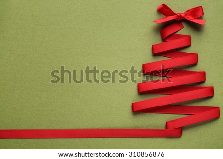 christmas tree made from ribbon - stock photo