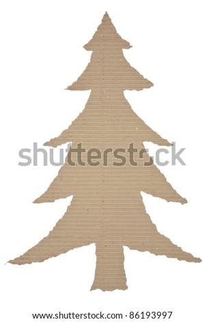 christmas tree made of corrugated cardboard - stock photo