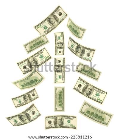 Christmas tree made of falling money isolated on white background - stock photo