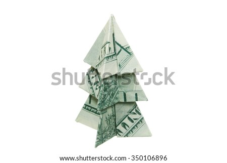 Christmas tree made of hundred dollar bills on a white background - stock photo