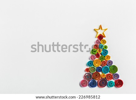 Christmas tree made of paper made by Quilling - stock photo