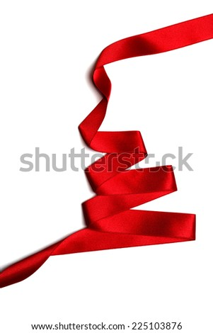 Christmas tree made of red ribbon isolated on white background