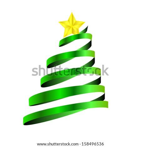 christmas tree made of ribbon  - stock photo