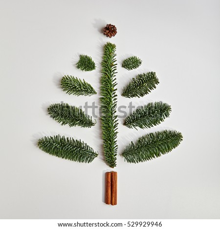 Christmas Tree made of Winter Foliage and Cinnamon Sticks. Holiday Concept. Flat Lay