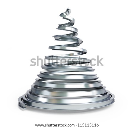 Christmas tree metal on a white background - stock photo