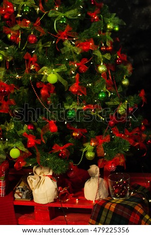 Christmas tree, new year, balloons, Santa Claus, fireplace