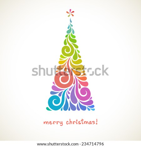 Christmas tree of color swirl shapes. Original modern design element. Greeting, invitation cute card. Simple decorative illustration for print, web - stock photo