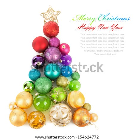 Christmas tree of colored balls - stock photo