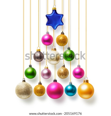 Christmas tree of colorful baubles hanging with gold ribbon on white background - stock photo