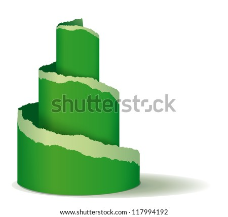 Christmas tree of green ripped paper - stock photo