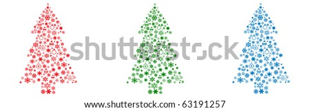 Christmas tree on a white background ( analogue of vector in my brief-case ) - stock photo