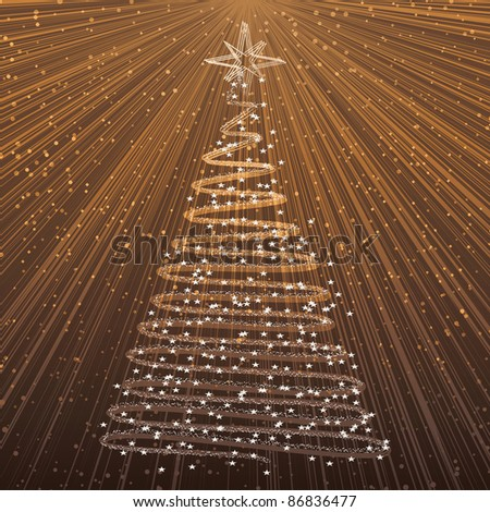 Christmas tree on gold background - xmas card with rays of light - raster version of vector ID 86751403