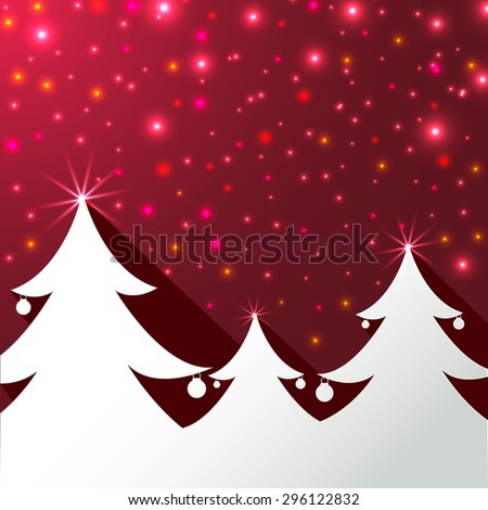 Christmas tree on magical red background greeting card.Christmas tree with shadow effect ,lights effect and copy-space.Illustration - stock photo