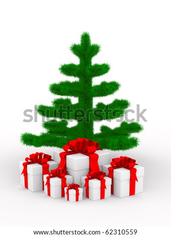 Christmas tree on white. Isolated 3d image - stock photo