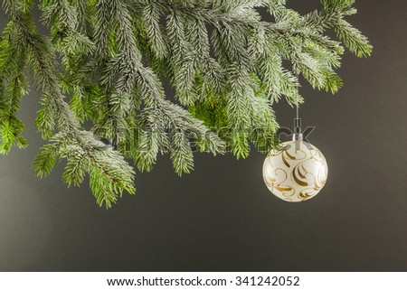 Christmas Tree ornament on a colored background with space for text - stock photo
