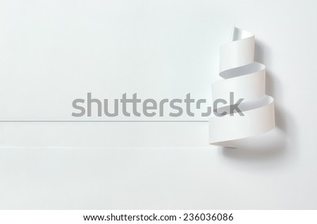 Christmas tree. Paper cut on a white background with shadow. - stock photo