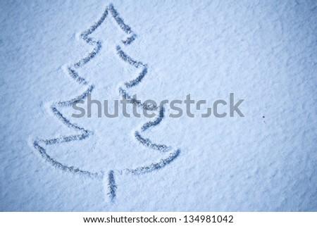 Christmas tree snow image - stock photo