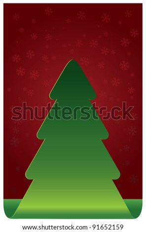 Christmas tree snowflakes on red background - stock photo