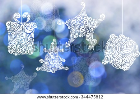 Christmas tree, star, gift box, fire ball with blue bokeh background created by carborundum - stock photo