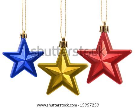 Christmas tree stars decoration - stock photo