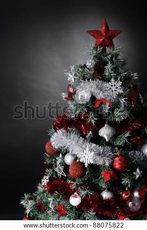 Christmas Tree Studio Shot Silver Red Stock Photo 88075774