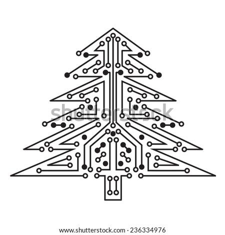 Christmas tree techno sign on white background raster version - stock photo