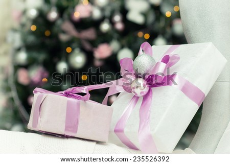 Christmas tree, texture, gifts, boxes
