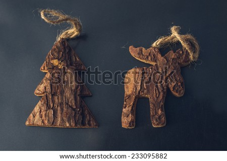 christmas tree toys made of pine bark - stock photo