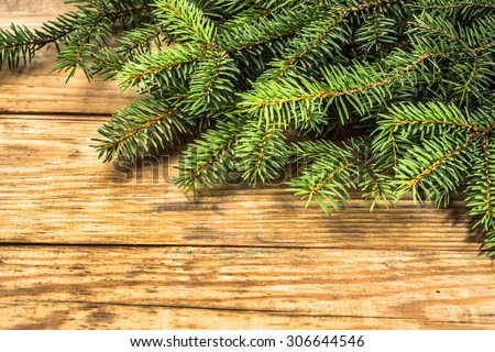 Christmas tree twigs of spruce arranged on rustic wood background useful as holiday background in vintage style. - stock photo