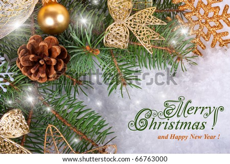 Christmas tree width christmas balls in snow - stock photo