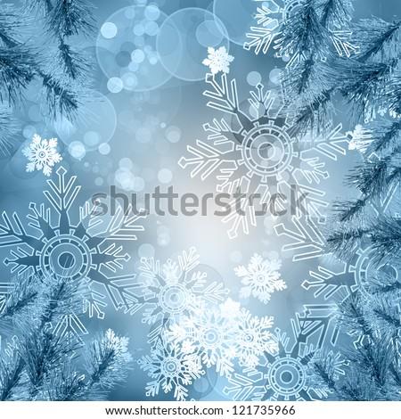 Christmas tree winter snowflake background - stock photo