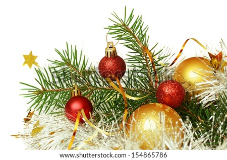 Christmas tree with balls and tinsel  on a white background - stock photo