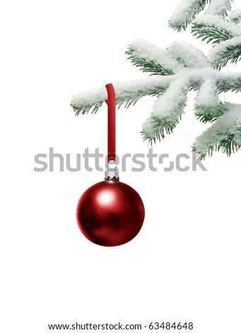Christmas tree with bauble - stock photo